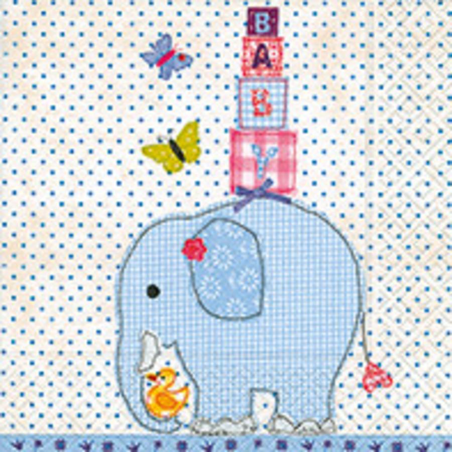 Servetten olifant blauw (20 stuks)-1