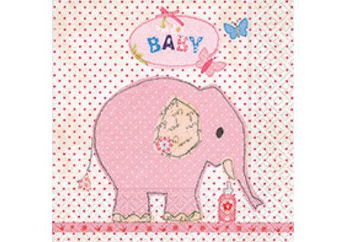 Servetten olifant roze (20 stuks)