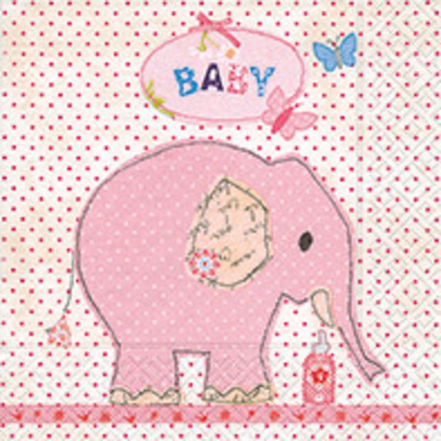 Servetten olifant roze (20 stuks)-1