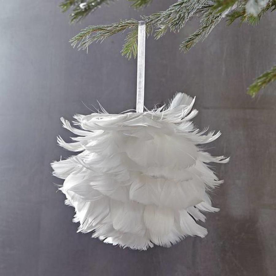 Vederen kerstbal wit 9 cm-2