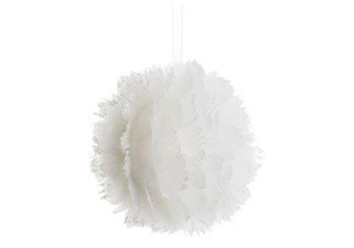 Vederen kerstbal wit 9 cm