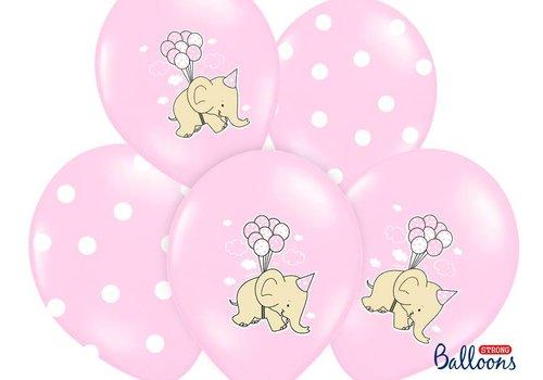 Roze ballonnen olifant (6 stuks)