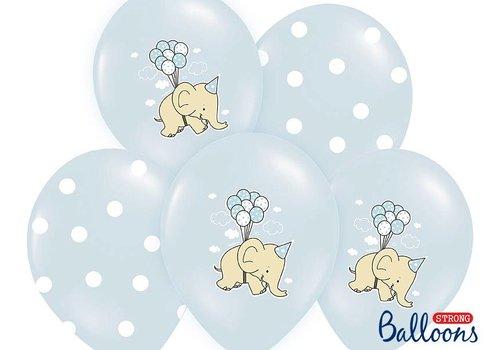 Ballons bleus éléphant (6 pièces)