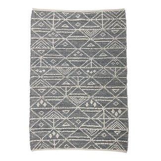 Bloomingville Grijs vloerkleed wol met patroon