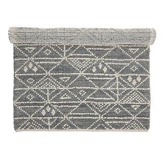 Bloomingville Vloerkleed grijs wol met patroon