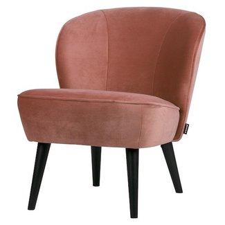 Woood Kleine fauteuil Sara oud roze fluweel
