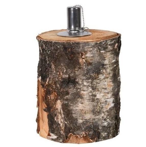 Stoere olielamp van een berkenstam met een RVS oliehouder met lont
