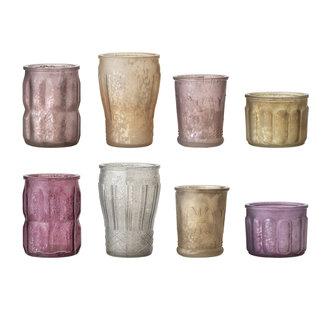 Bloomingville Waxinehouders in aardetinten en oud roze set van 8