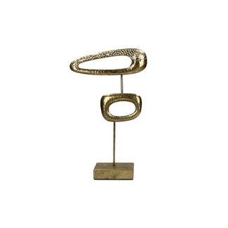 Pomax Gouden woondecoratie ovaal metaal op voet