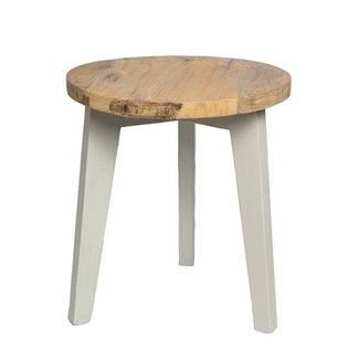 Mrs Bloom Ronde houten bijzettafel old grey