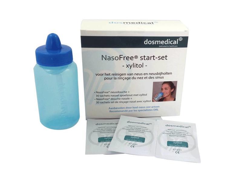 NasoFree nasal irrigator and 30 sachets nasal saline.
