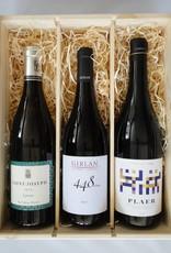 Houten kist voor 3 flessen wijn