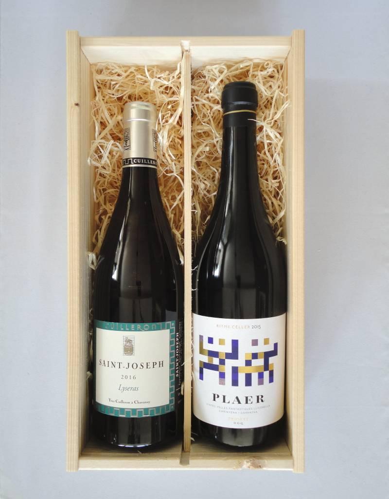 Houten kist voor 2 flessen wijn