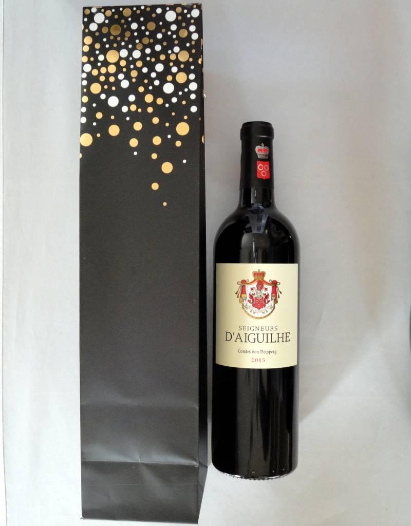 Cadeauzak Feestdagen voor 1 fles wijn