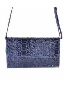 Lederen schoudertasje|Clutch d.blauw
