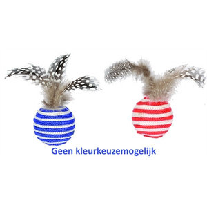 Happy pet Happy pet candy stripe bal met veren assorti