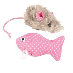 Little rascals Little rascals kitten speelset muis en vis roze