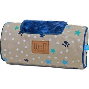Lief! Lief! comfort kussen voor houten hondenmand boys beige / blauw