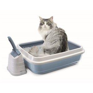 Imac Imac kattenbak duo met kattenbakschep romeo blauw / wit