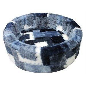 Petcomfort Petcomfort hondenmand bont lapjesdeken blauw