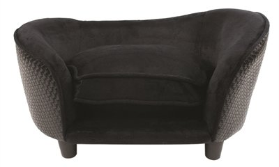 Enchanted hondenmand sofa ultra pluche snuggle wicker zwart 68x41x38 cm