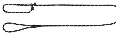 Ronde Nylon Sliplijn Gestreept voor de hond Zwart