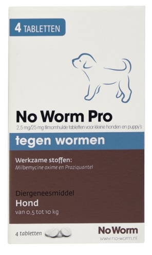 No Worm Pro Kleine Hond & Puppy 4 Tabletten