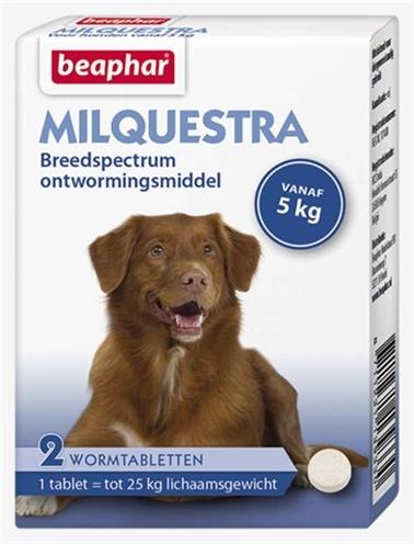 Beaphar Milquestra Ontwormingsmiddel hond (5-50 kg) 2 Tabletten