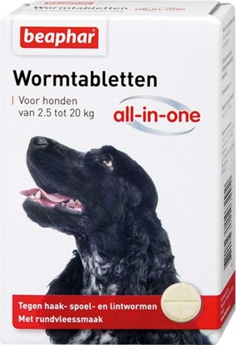 Beaphar Wormmiddel All-in-One (2,5 - 20 kg) hond 2 Tabletten