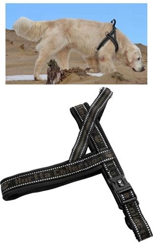 Hurtta Padded Harness 80 cm voor de hond Zwart - Groen