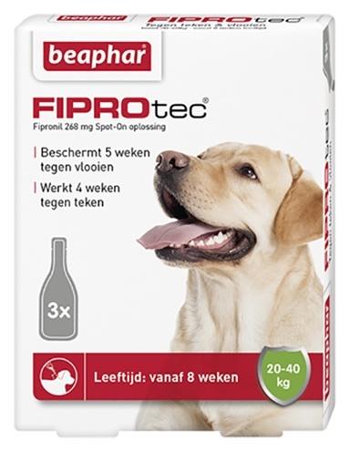 Beaphar Fiprotec Spot-On voor honden van 20 tot 40 kg 3 pipetten