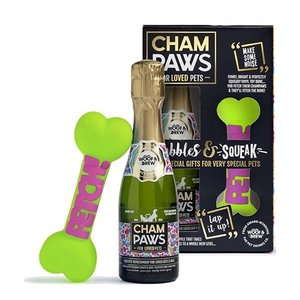 Pawsecco Champaws luxe set hondenchampage met piepend speelgoed