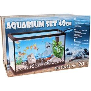 Merkloos Aquarium set 40cm met filter met deco haai