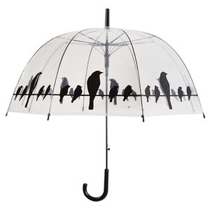 Merkloos Paraplu vogels op draad transparant / zwart