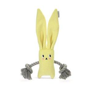 Beeztees Beeztees puppy konijn jilco met touw geel
