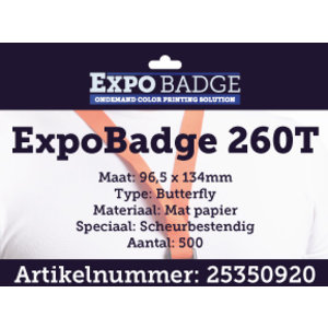 Diamondlabels ExpoBadge 96x134mm. Mat scheurbestendig papier, Epson Colorworks TM-C3500