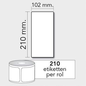 Diamondlabels DTD09  Papier 102x210mm kern 25 mm voor desktop labelprinters 210 per rol prijs per 1 rollen