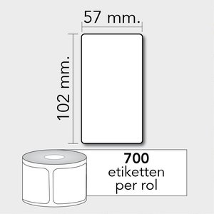 Diamondlabels DTD09  Papier 57x102mm kern 25 mm voor desktop labelprinters 700 per rol prijs per 1 rollen
