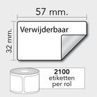 Diamondlabels DTD09R Papier 57x32 K25 2100 Rol