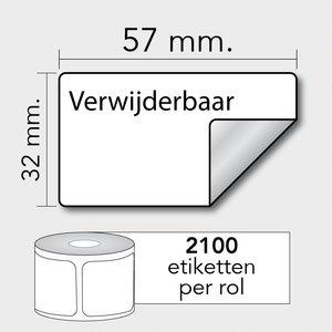 Diamondlabels DTD09R Papier 57x32mm kern 25 mm voor desktop labelprinters 2100 per rol prijs per 1 rollen