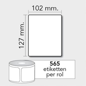 Diamondlabels DTD01  Papier 102x127mm kern 25 mm voor desktop labelprinters 565 per rol prijs per 1 rollen