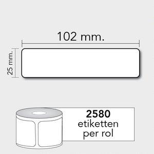 Diamondlabels DTD09  Papier 102x64mm kern 25 mm voor desktop labelprinters 2580 per rol prijs per 1 rollen