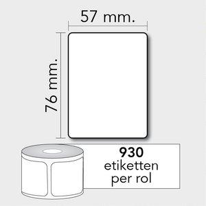 Diamondlabels DTD09  Papier 57x76mm kern 25 mm voor desktop labelprinters 930 per rol prijs per 1 rollen
