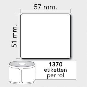 Diamondlabels DTD09  Papier 57x51mm kern 25 mm voor desktop labelprinters 1370 per rol prijs per 1 rollen