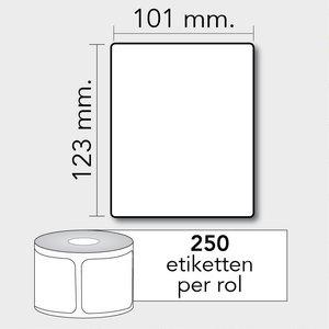 Diamondlabels DTD07  Papier 101x123mm kern 25 mm voor desktop labelprinters 250 per rol prijs per 1 rollen