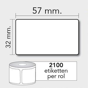 Diamondlabels DTD09  Papier 57x32mm kern 25 mm voor desktop labelprinters 2100 per rol prijs per 1 rollen