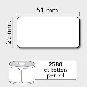 Diamondlabels DTD09  Papier 51x25mm kern 25 mm voor desktop labelprinters 2580 per rol prijs per 1 rollen