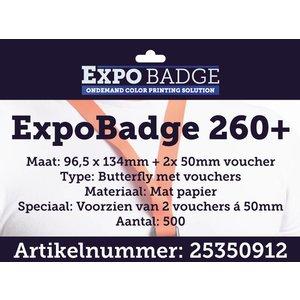 Diamondlabels ExpoBadge 96x134mm met 2 vouchers a 50mm. Mat extra stevig papier, Epson Colorworks TM-C3500