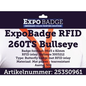 Diamondlabels ExpoBadge 96x82mm met RFID. Extra stevig en scheurbestendig mat inkjet papier voor Epson Colorworks TM-C3500 met RFID inlay