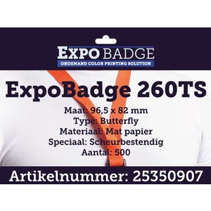 Diamondlabels ExpoBadge 96x82mm. Mat scheurbestendig papier, Epson Colorworks TM-C3500
